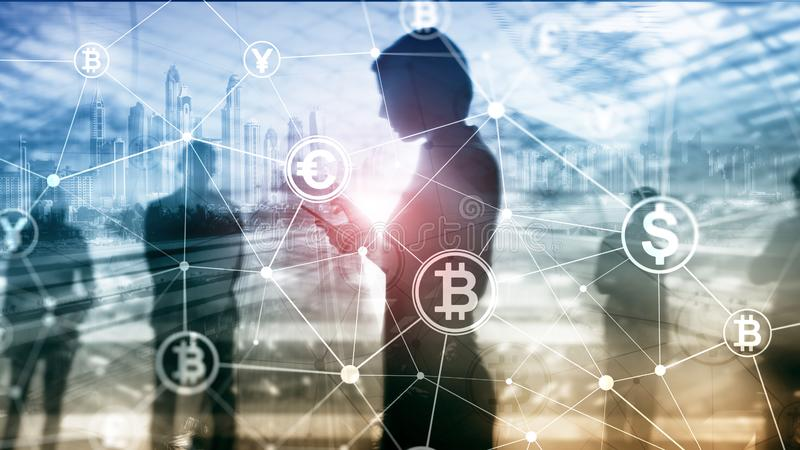 Double exposure Bitcoin and blockchain concept. Digital economy and currency trading. royalty free stock image