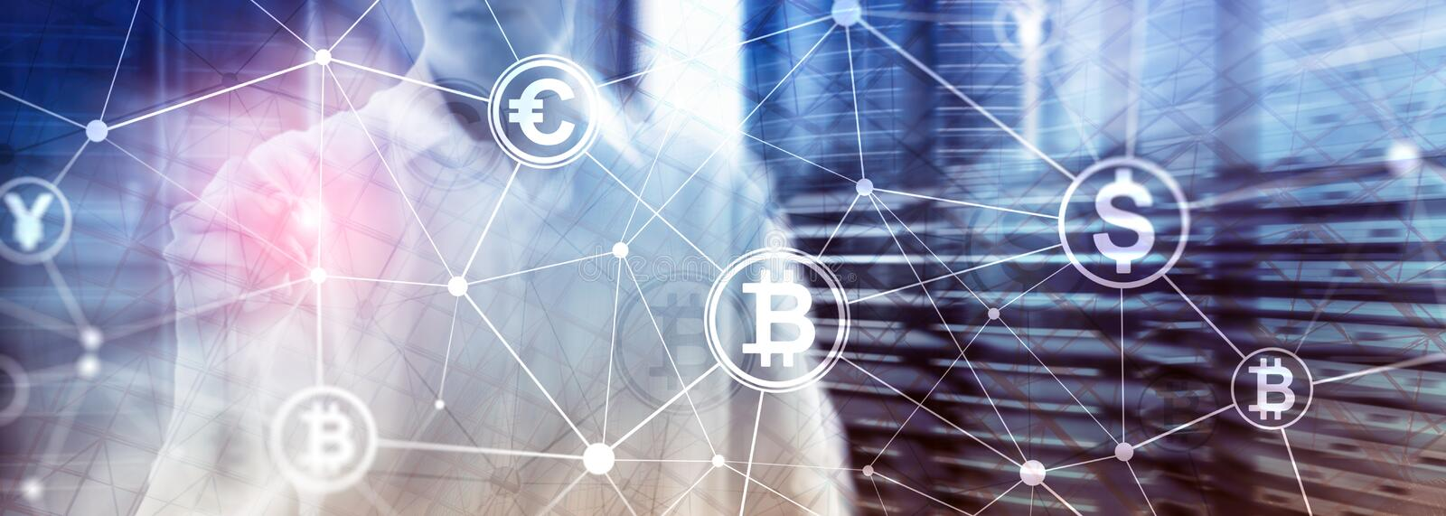 Double exposure Bitcoin and blockchain concept. Digital economy and currency trading. stock photo
