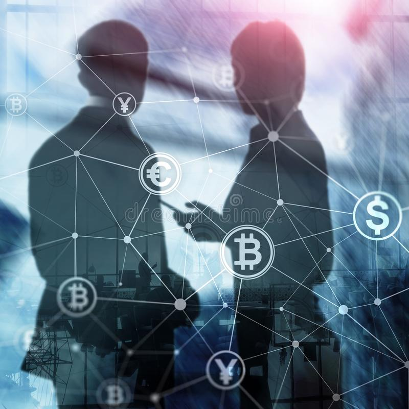 Double exposure Bitcoin and blockchain concept. Digital economy and currency trading. Man and woman, silhouettes royalty free illustration