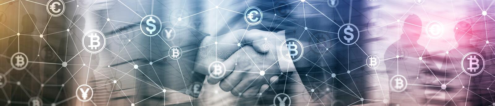 Double exposure Bitcoin and blockchain concept. Digital economy and currency trading. Website header banner stock image