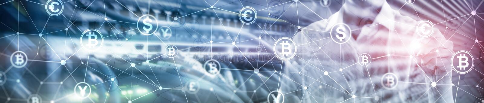 Double exposure Bitcoin and blockchain concept. Digital economy and currency trading. Website header banner. royalty free stock photo