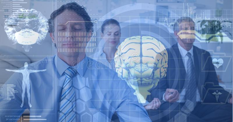 Double exposure of brains and business people meditating. Digital composite of Double exposure of brains and business people meditating royalty free stock photos