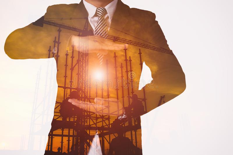 Double exposure business action modern digital motion graphics stock images