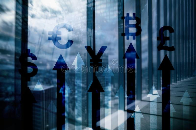 Double exposure business and financial concept. Currency growth arrows. Stock trading and forex.  stock image