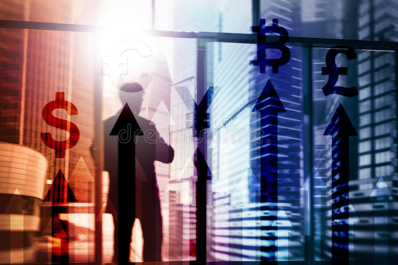 Double exposure business and financial concept. Currency growth arrows. Stock trading and forex.  royalty free stock image