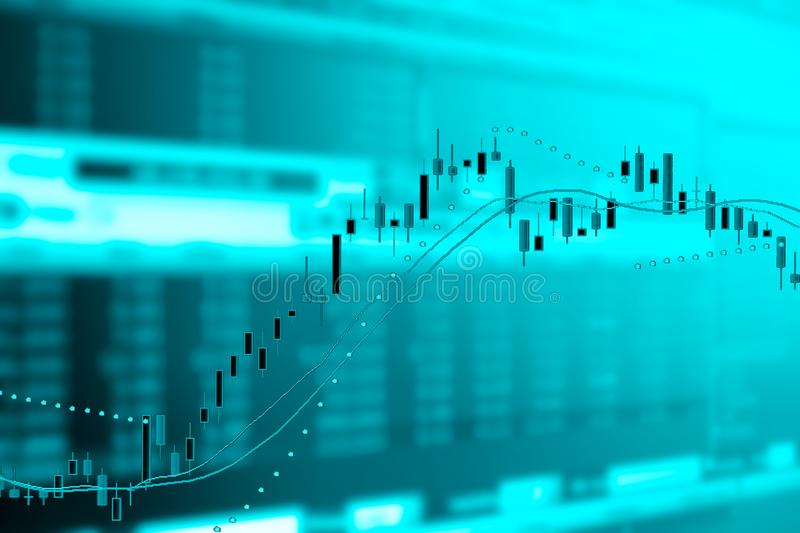 Double exposure of business graph and trade monitor stock illustration