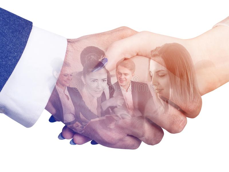 Double exposure of business handshake and business people team. royalty free stock photos