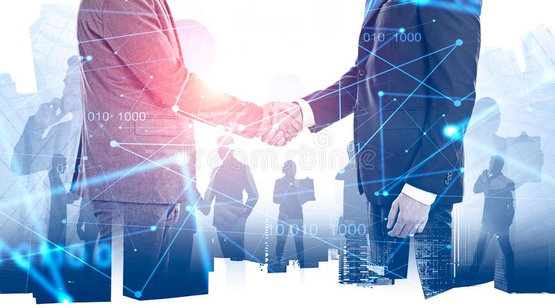 Double exposure with business handshaking royalty free stock photo