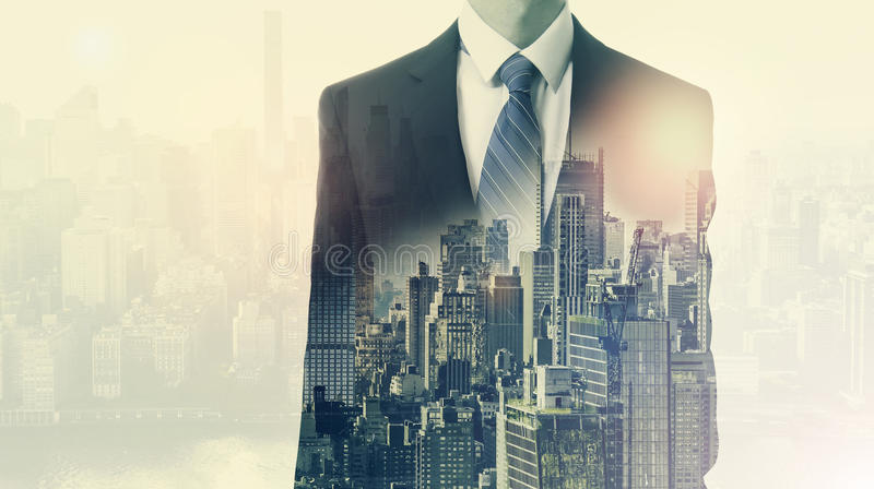 Double exposure of business man and city royalty free stock photography