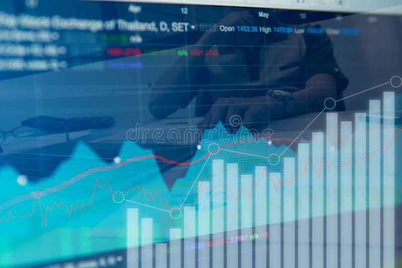 Double exposure business people working at office. Stock markets financial royalty free stock image