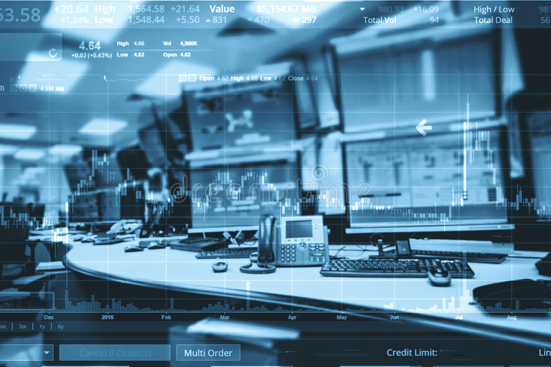 Double exposure of business stock trading room with computer and. Graph for Business Trading concept royalty free stock photos