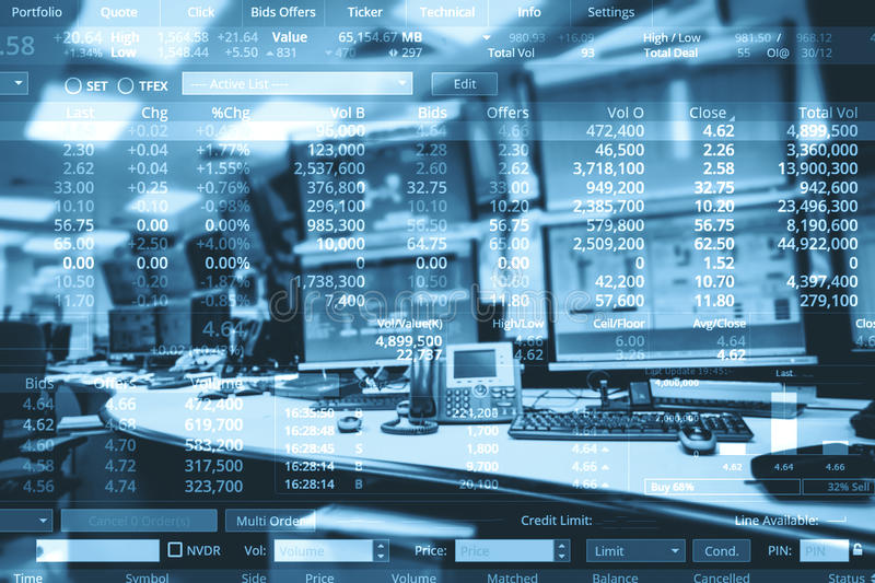 Double exposure of business stock trading room with computer and. Graph for Business Trading concept royalty free stock photography