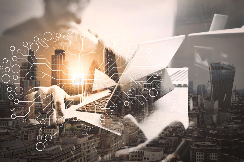 Double exposure,Business team meeting present. investor working. Artificial Intelligence (AI),machine learning with data mining technology on virtual dachboard stock photos