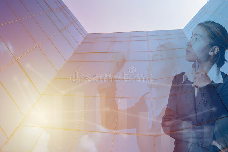 Double exposure business woman thinking and fighting action with royalty free illustration