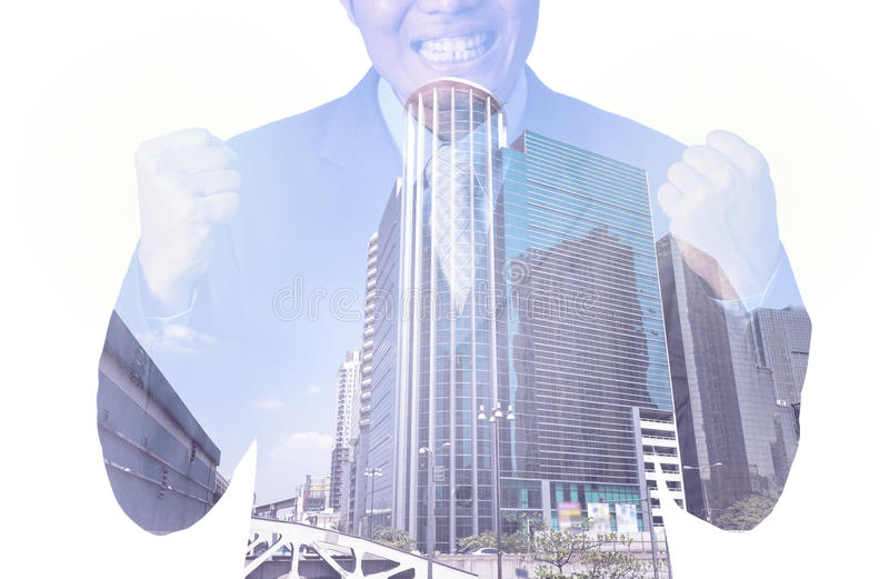 Double exposure of businessman with cityscape, Modern glass Business building royalty free stock images