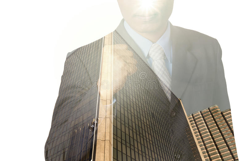 Double exposure of businessman with cityscape, Modern glass Business building royalty free stock photos