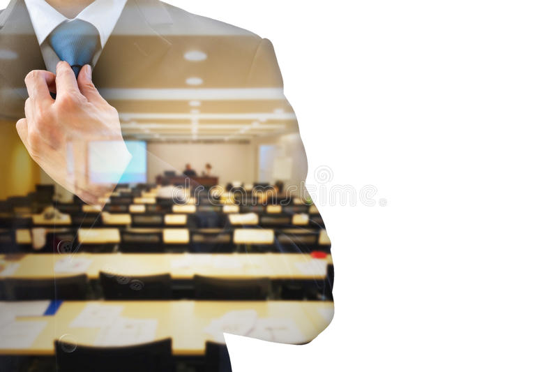 Double exposure businessman and conference room royalty free stock photo