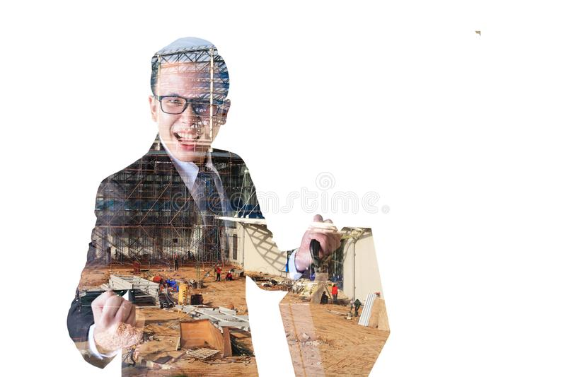 Double exposure of Businessman and construct site stock images