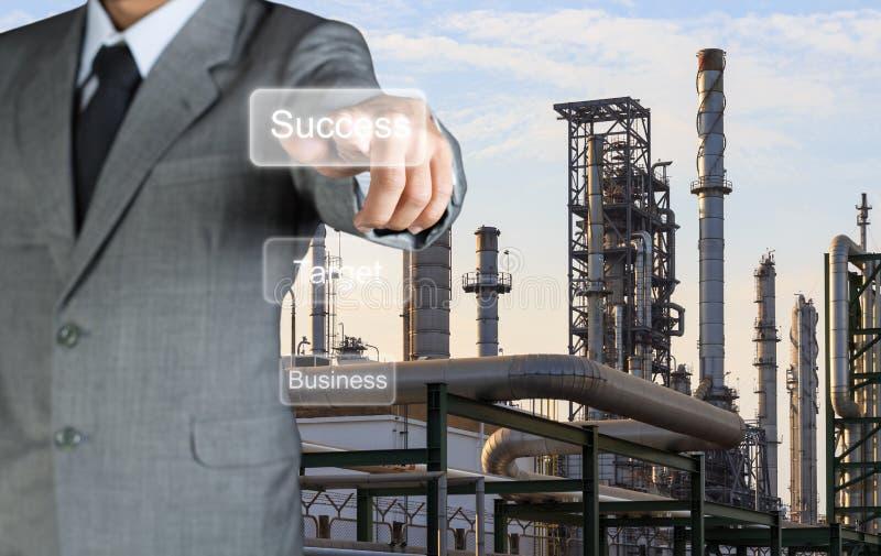 Double exposure businessman finger target success stock photos