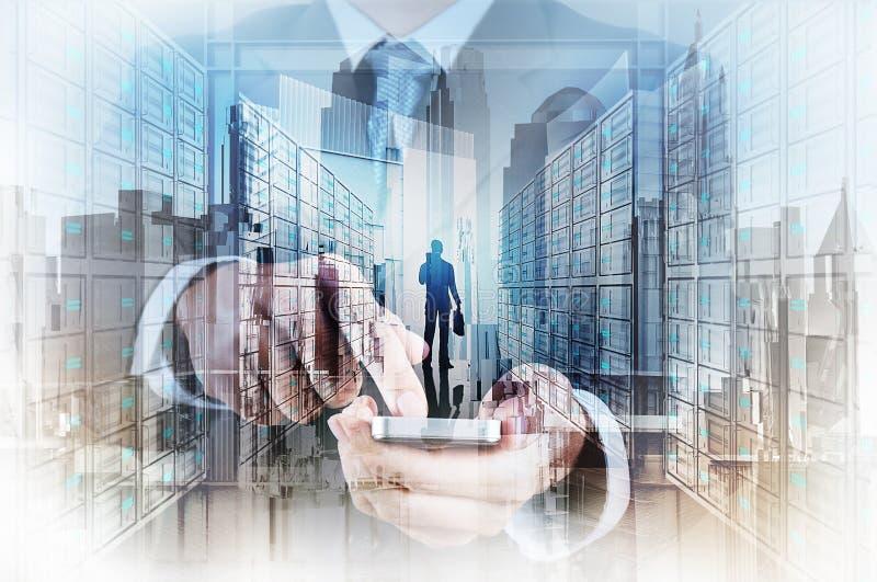 Double exposure of businessman hand stock photo