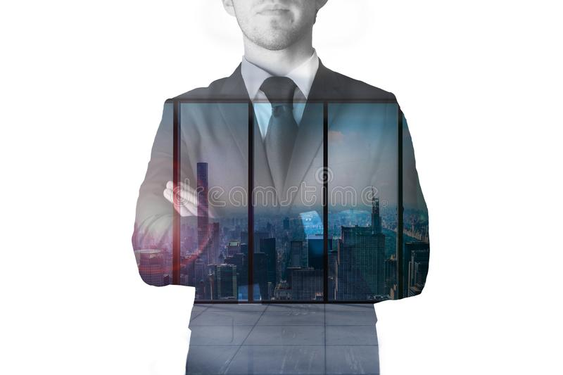 Double exposure businessman large modern office with skyline view 3D Illustration stock photography
