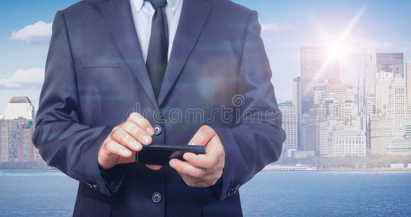 Double exposure of businessman and New York skyline royalty free stock photo