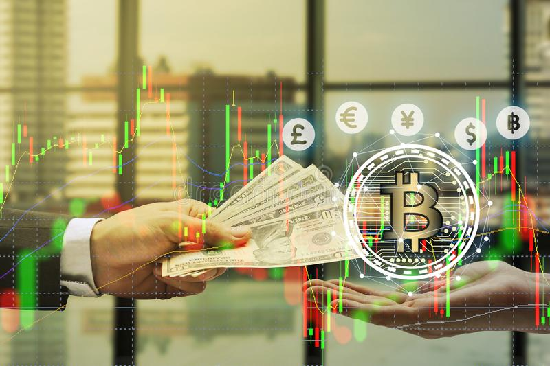 Double exposure of Businessman Pay the US dollar with hand holding virtual screen bitcoin technology, virtual currency. Blockchain technology concept, Internet royalty free stock photos