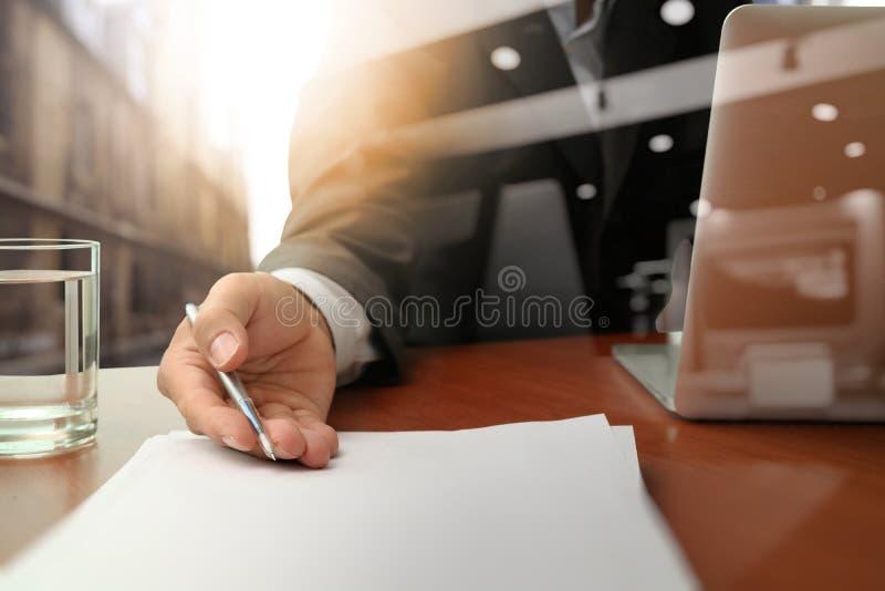 Double exposure of businessman or salesman handing over contract stock image