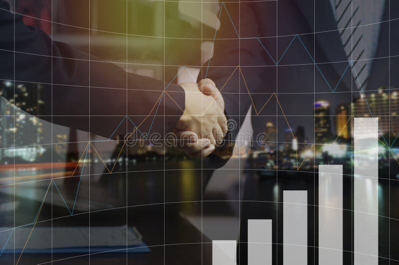 double exposure businessman shaking hand vector illustration