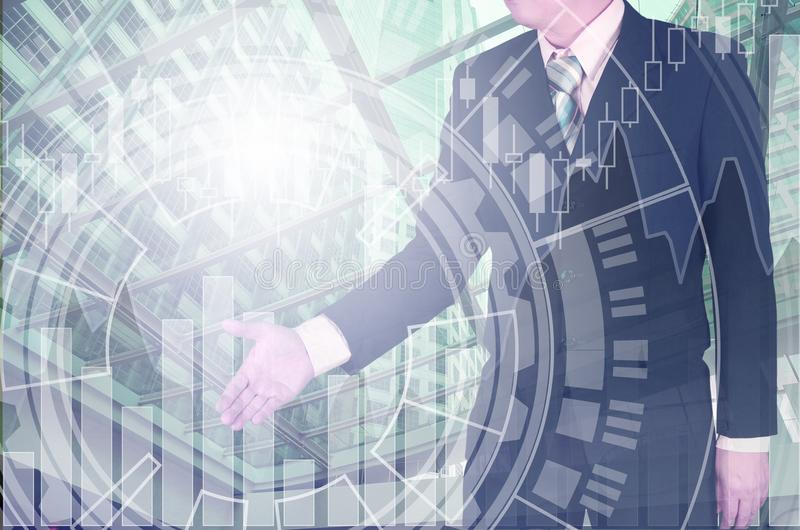 Double exposure of businessman shaking hand with growth graph ch stock photos