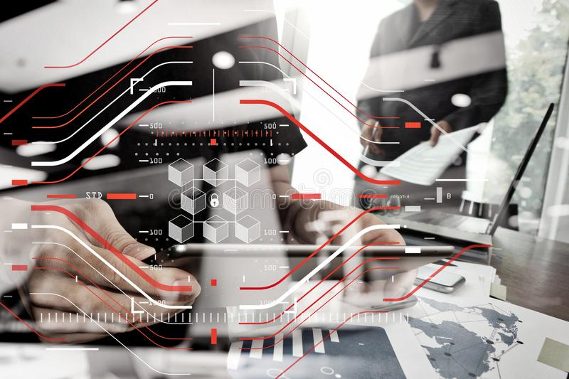 Double exposure of businessman shows modern technology with business strategy as concept. Blockchain technology concept with a chain of encrypted blocks royalty free stock photo