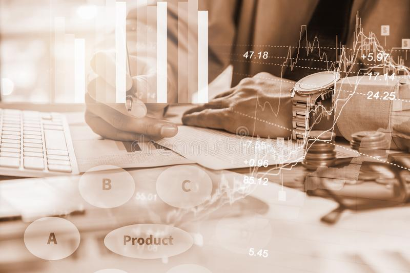 Double exposure businessman and stock market or forex graph suitable for financial investment concept. Economy trends background. For business idea and all art royalty free stock images