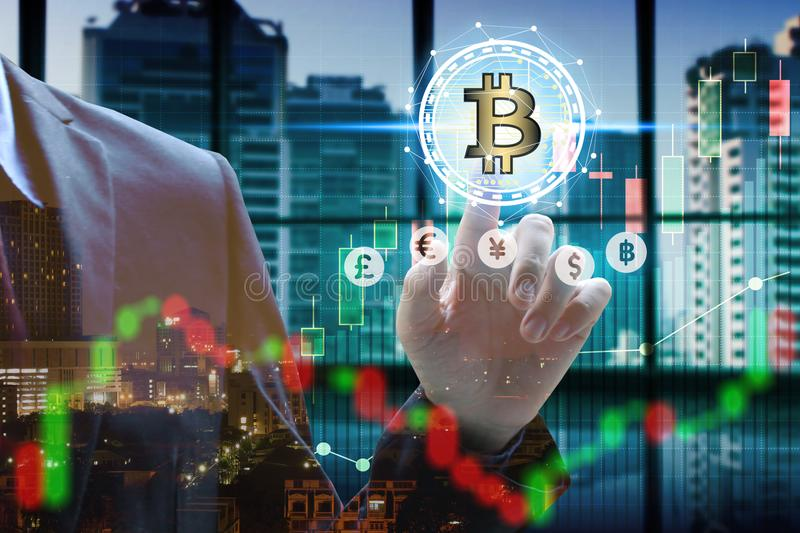 Double exposure of businessman touch virtual bitcoin and blockchain with stock market or financial graph for financial investment. Concept stock photo