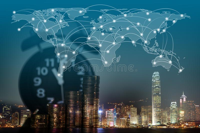 Double exposure of coin stack and alarm clock with city backgrou double exposure of coin stack and alarm clock with city background and world map financial graph world map and global network business concept idea gumiabroncs Image collections