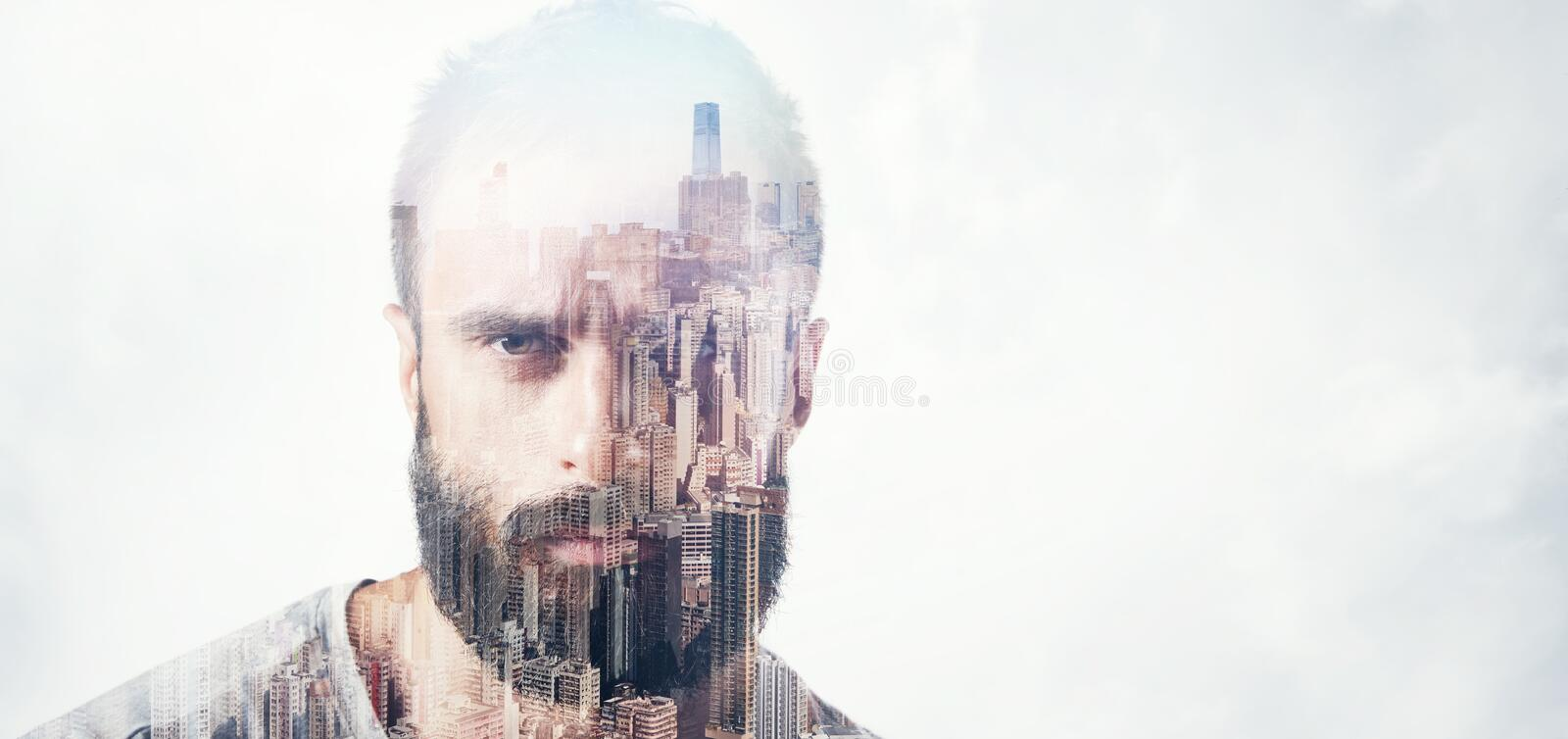 Double exposure concept with bearded man. Wide royalty free stock images