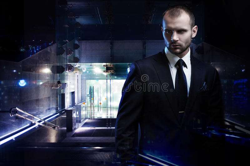 Double exposure concept, serious man in a business royalty free stock photography