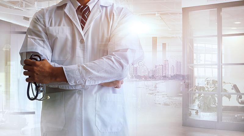 Double exposure of confident woman doctor standing  and modern cityscape view on background. Medical industy concept vector illustration