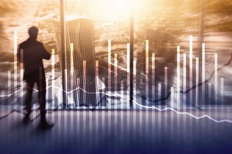 Double exposure Economics growth diagrams on blurred background. Business and investment concept.  stock image