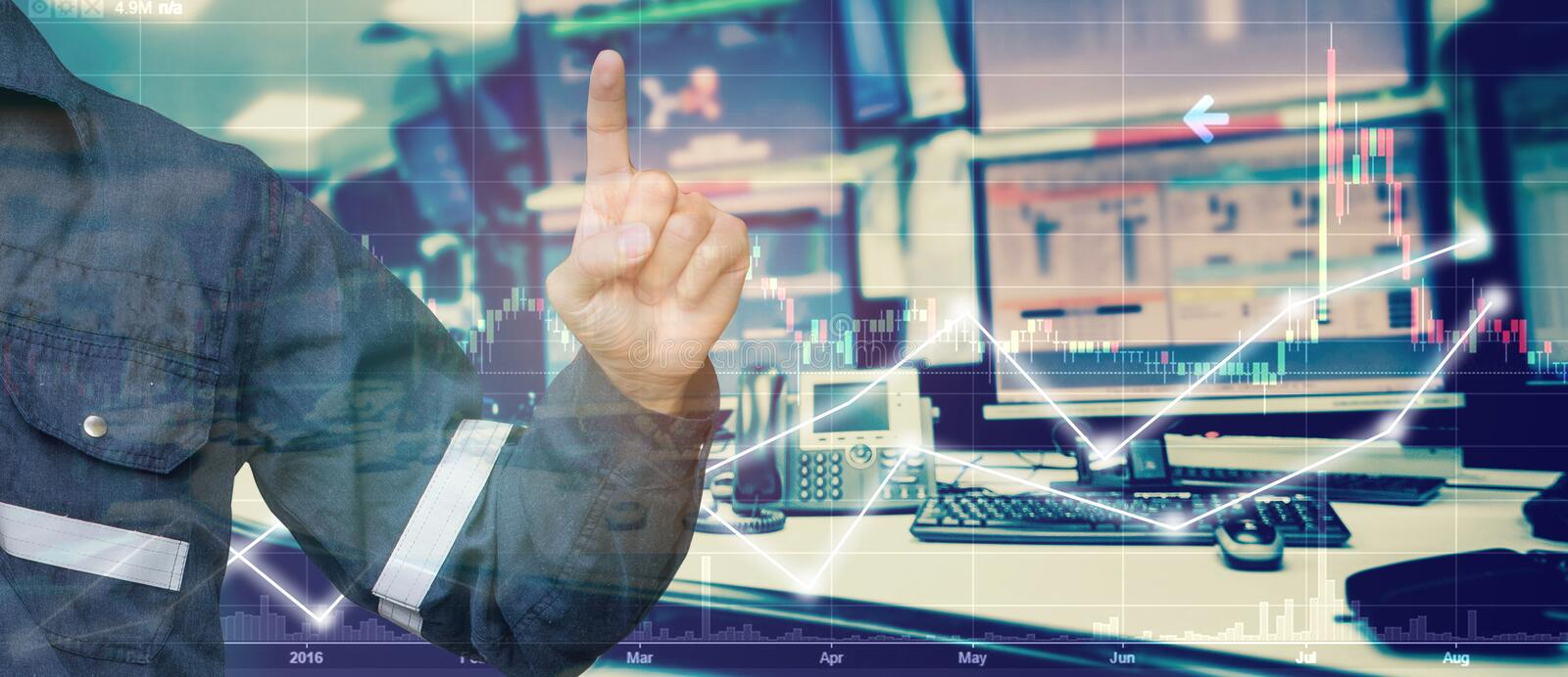 Double exposure of Engineer point in stock trading room with com. Puter and graph for Business Trading concept royalty free stock photos