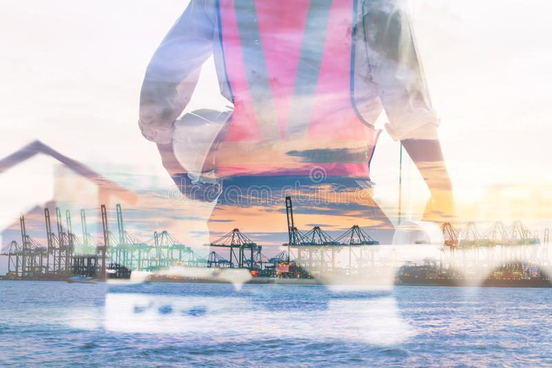Double Exposure of Engineer in Safety Equipment on Shipping Terminal Industry Background, Technician Man Operator of Handling stock image