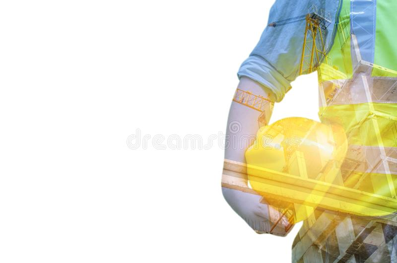 Double exposure of Engineer with safety helmet with construction. Site with crane and building,business background stock images