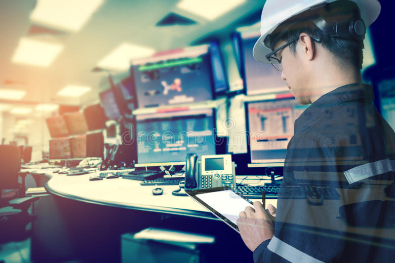 Double exposure of Engineer or Technician man with safety helmet stock images