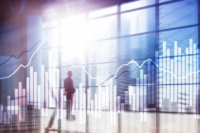 Double exposure Financial graphs and diagrams. Business, economics and investment concept. Double exposure Financial graphs and diagrams. Business, economics stock illustration