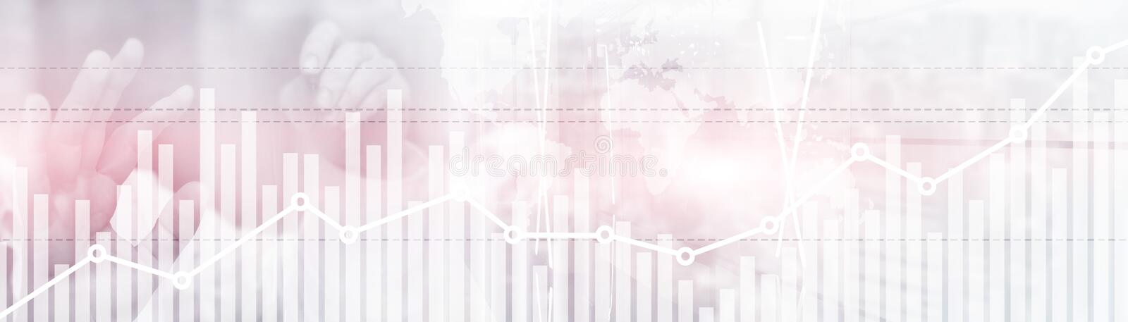 Double exposure global world map on business financial stock market trading background.  stock photos