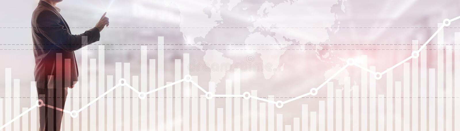 Double exposure global world map on business financial stock market trading background. Double exposure global world map on business financial stock market royalty free stock photo