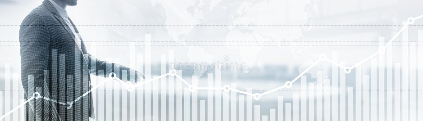 Double exposure global world map on business financial stock market trading background. Double exposure global world map on business financial stock market royalty free stock photography