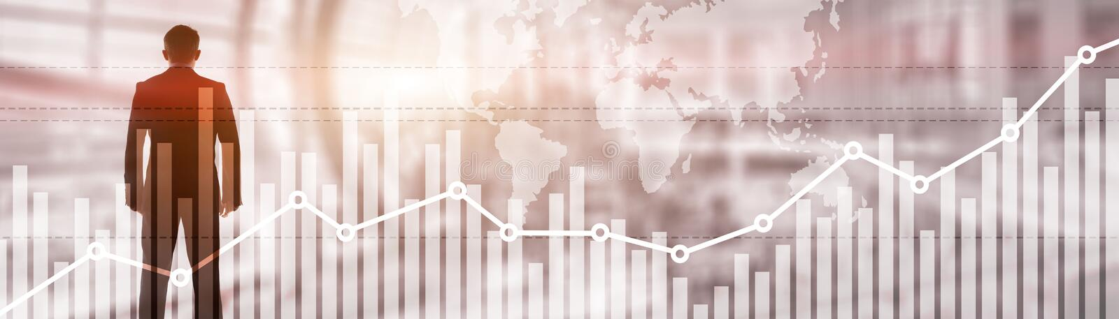 Double exposure global world map on business financial stock market trading background.  royalty free stock photography