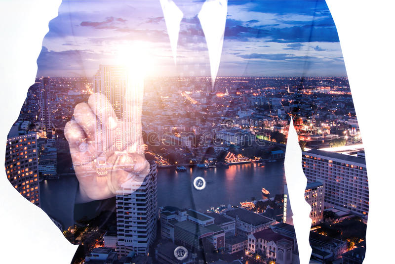 Double exposure globalization real estate business with city background royalty free stock photography