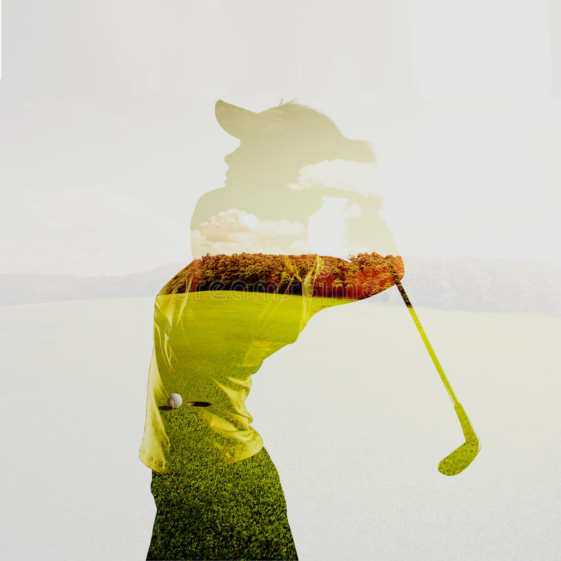Double exposure of golf player stock photography