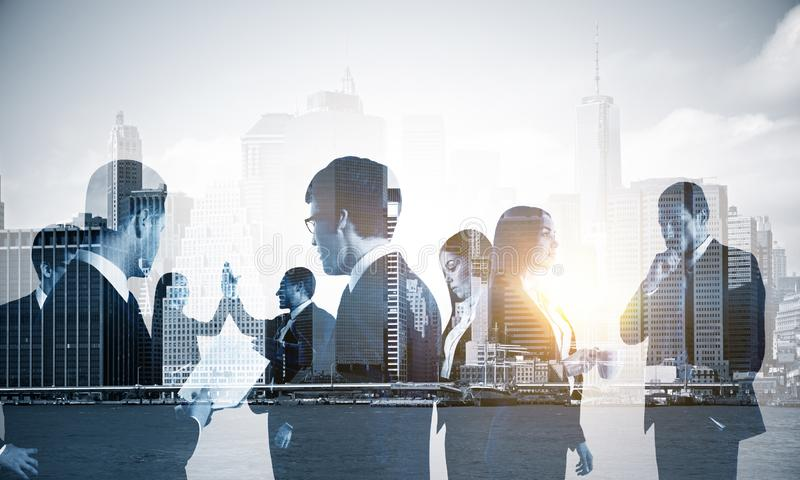Double exposure of group of business people royalty free stock photos